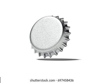 Silver bottle cap on white floor. 3d rendering