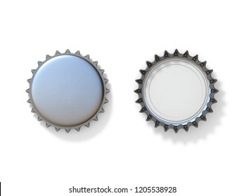 Silver bottle caps 3D render illustration isolated on white background