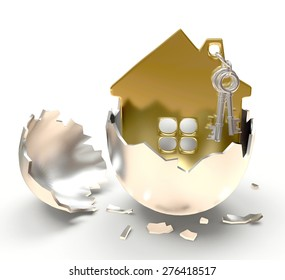 Silver broken egg with golden house inside isolated on white background