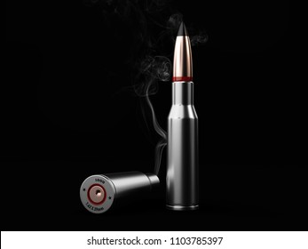 Silver bullets with smoke on black background, 3d Illustration