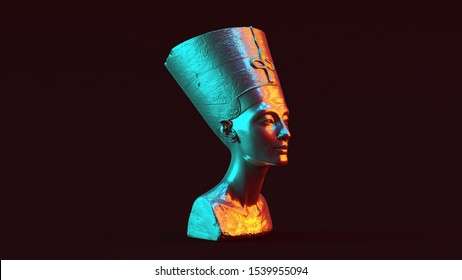 Silver Bust of Nefertiti with Red Orange and Blue Green Moody 80s lighting 3 Quarter Right View 3d illustration 3d render