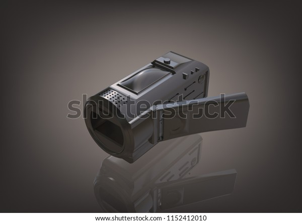 Silver camera on a gray background. 3D rendering