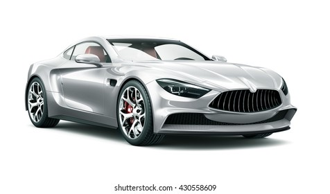 Silver car - 3D render on white