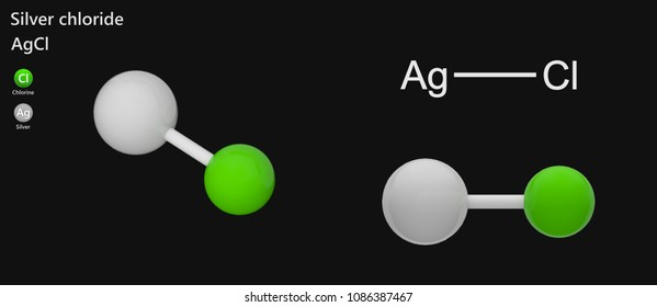 Silver chloride is a chemical compound with the chemical formula AgCl. This white crystalline solid. 3d illustration. Isolated on dark background. The molecule is represented in different structures.