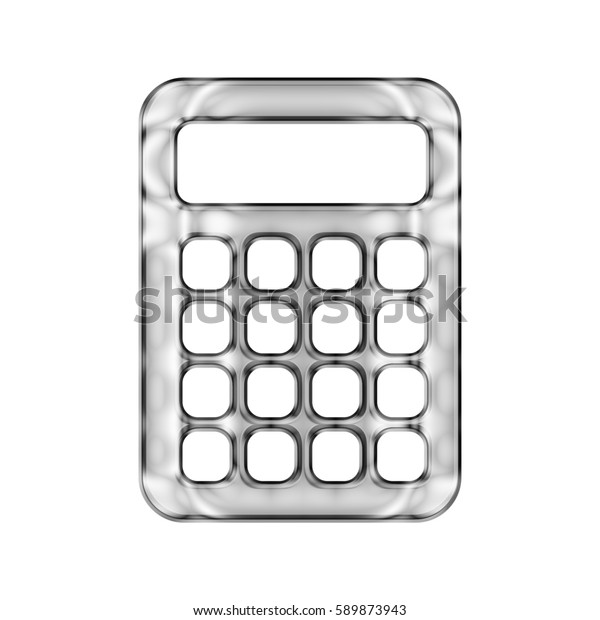 Silver Chrome Calculator Icon Shiny Metallic Stock