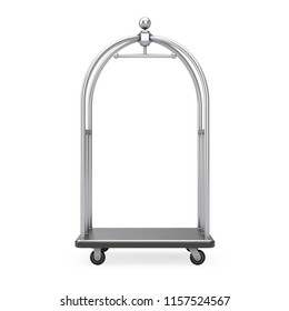 Silver Chrome Luxury Hotel Luggage Trolley Cart on a white background. 3d Rendering