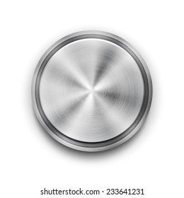silver circular metal textured button with a concentric circle texture pattern and metallic sheen  overhead view
