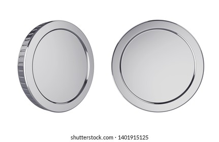 Silver coins isolated on white background, 3D rendering