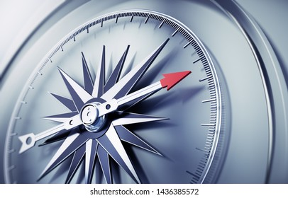 Silver compass with needle pointing upward - 3D ilustration