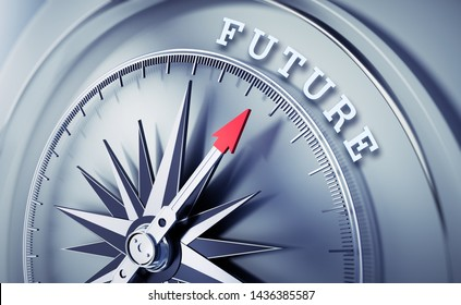 Silver compass with needle pointing at the word future - 3D ilustration