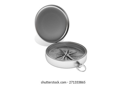 Silver compass on white isolated background. 3d