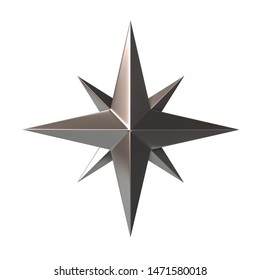 Silver Compass Rose 3d illustration on white background