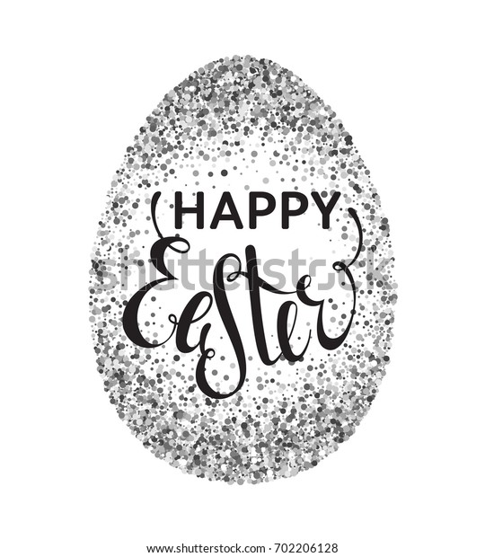 Silver confetti Happy Easter greeting card with egg on white background. Calligraphy lettering design element for greeting cards, banners, posters, invitations, postcards.