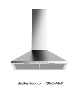 Silver cooker hood isolated on white background
