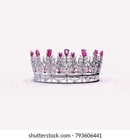 A silver crown set with marquise diamonds, accented with teardrop pink diamonds.  semi-isolated on a soft pink background. Original design by the artist. 3d rendering.