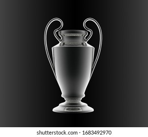 Silver cup on the black background 3d render