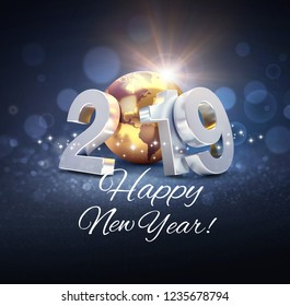 Silver date 2019 composed with a gold planet earth and Happy New Year greeting, on a glittering black background - 3D illustration