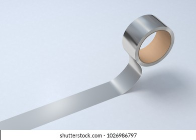 Silver duct tape roll on white background. 3d illustration.