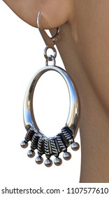 Silver earring with niello gills design elements on a partially seen female figure. Vertical close-up 3d render isolated on white.