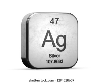 Silver element from the periodic table series. Metallic icon set 3D rendered on white background