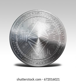 silver ethereum classic coin isolated on white background 3d rendering