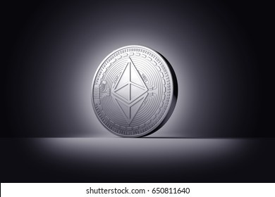 Silver Ethereum coin with Ether sign isolated on dark background. 3D rendering (new virtual money)
