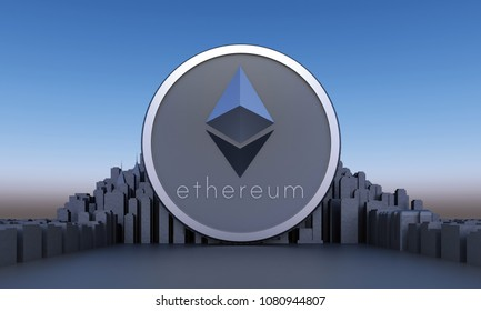 silver etherium coin on cityscape. 3d rendering