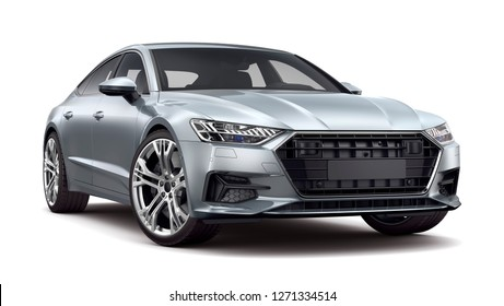 Silver executive car - 3D rendering image.