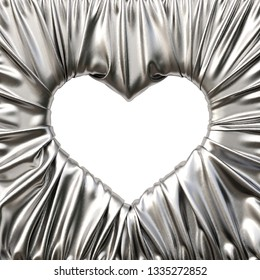 silver fabric heart shaped picture frame. 3d rendering.