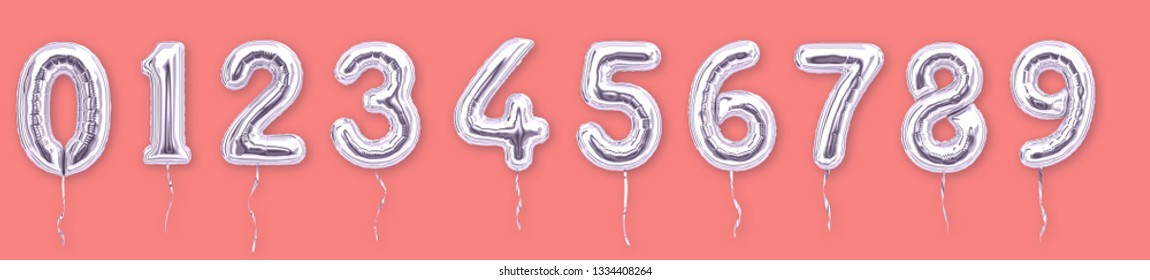 Silver Foil balloon numbers 1, 2, 3, 4, 5, 6, 7, 8, 9, 0 isolated on living coral color background. 3d rendering