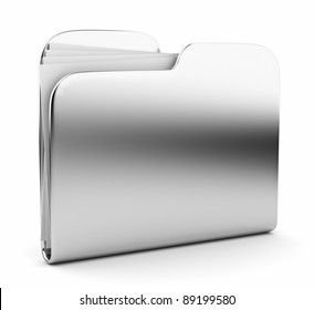 Silver folder. File 3D.  Icon isolated on white background