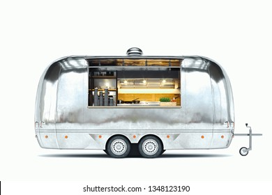 Silver food trailer with detailed interior isolated on white. 3d rendering.