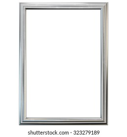 Silver frame isolated on white. Clipping path included.