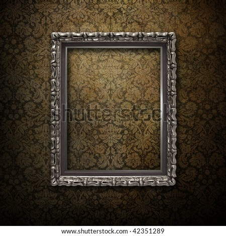 Silver Frame Over Grunge Wallpaper Stock Illustration 42351289