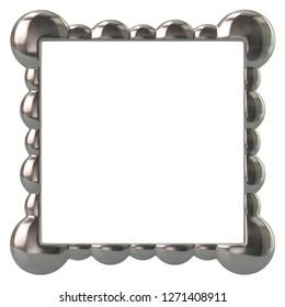 Silver frame for painting 3d illustration on white background