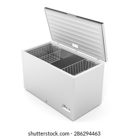 Silver freezer on white background