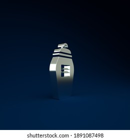 Silver Funeral urn icon isolated on blue background. Cremation and burial containers, columbarium vases, jars and pots with ashes. Minimalism concept. 3d illustration 3D render.