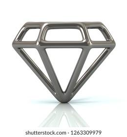 Silver gem icon 3d illustration on white background