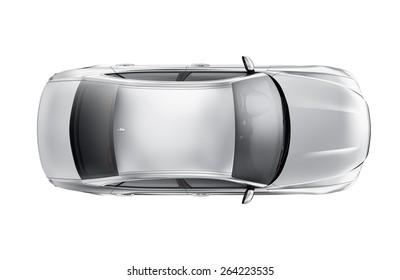 SIlver generic car isolated on white - top view