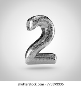 Silver glitering number 2. 3D render of glitter font isolated on white background.