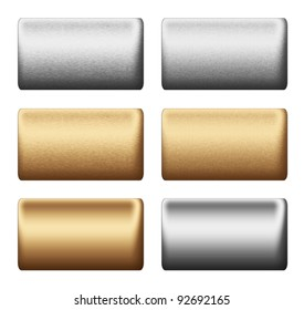 silver and gold metal bar collection, texture boards or push buttons, steel backgrounds to insert text and graphic design