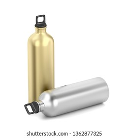 Silver and gold water bottles on white background, 3D illustration