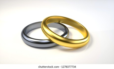 Silver And Gold Wedding Rings  Isolated On The White Background - 3D Illustration