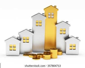 Silver and golden houses in the form of a graph and pile of coins isolated on white background