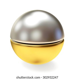 Silver and golden shining ball isolated on white  background