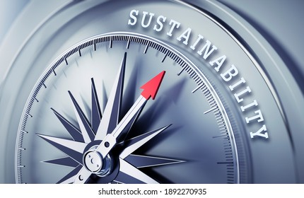 Silver gray compass with needle pointing to the word sustainability - 3D Illustration