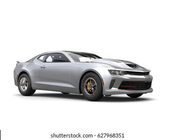 Silver grey muscle car - studio shot - 3D Illustration