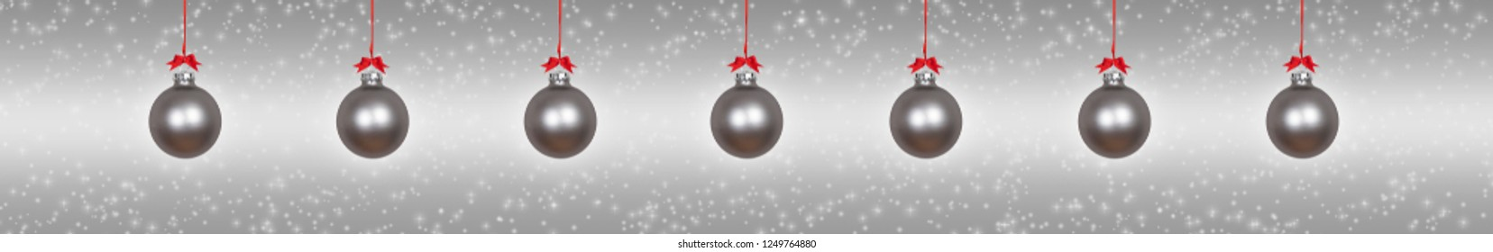 Silver hanging christmas baubles