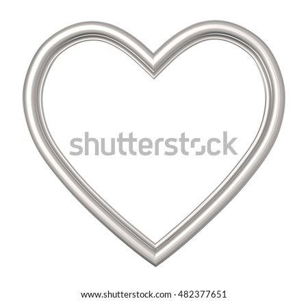 Silver Heart Picture Frame Isolated On Stock Illustration 482377651 ...