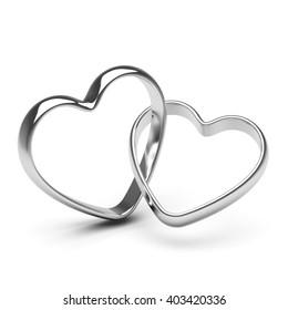 silver heart rings. 3D illustration.